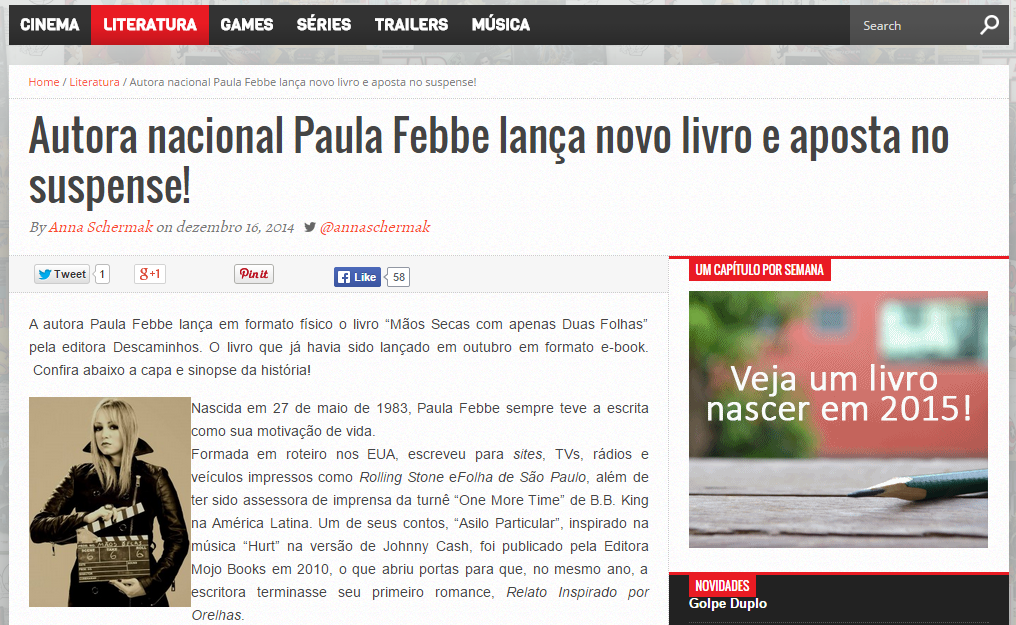 """Lançamento do livro """"Mãos Secas com Apenas Duas Folhas"""" é destaque no site Pausa News"""